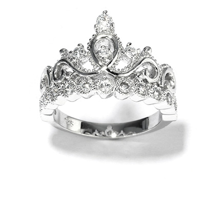 [Rhodium-plated 925 Sterling Silver Princess Crown Ring]